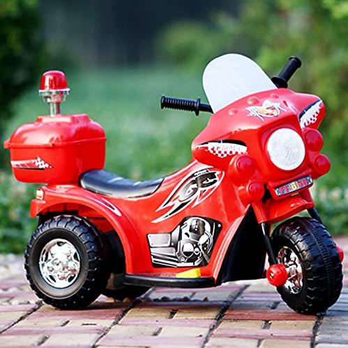 Motocicleta eléctrica para niños, Triciclo de batería Recargable de bebé, Caja de Almacenamiento con Espalda, Harley de Juguete eléctrico de Juguete de Juguete eléctrico,Rojo