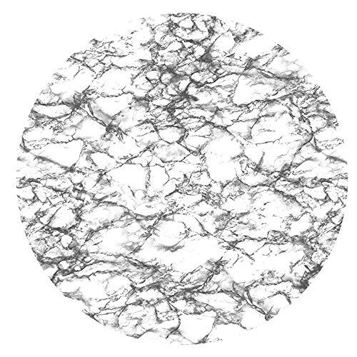 DecoHomeTextil Wachstuchtischdecke Wachstuch Tischdecke Gartentischdecke Rund Oval Granit Weiß Rund 130 cm abwaschbare Wachstischdecke