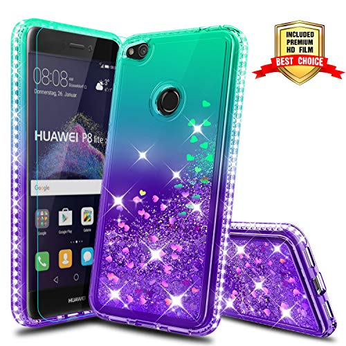 Atump Funda Huawei P8 Lite 2017 Glitter Fundas Líquido TPU Antichoque Fundas de teléfono + Protector de Pantalla HD para Huawei P9 Lite 2017/ Honor 8 Lite/Nova Lite /GR3 2017 Green/Purple