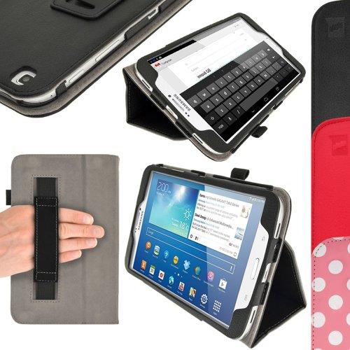 igadgitz Schwarz PU Ledertasche Hülle Folie Cover für Samsung Galaxy Tab 3 8.0
