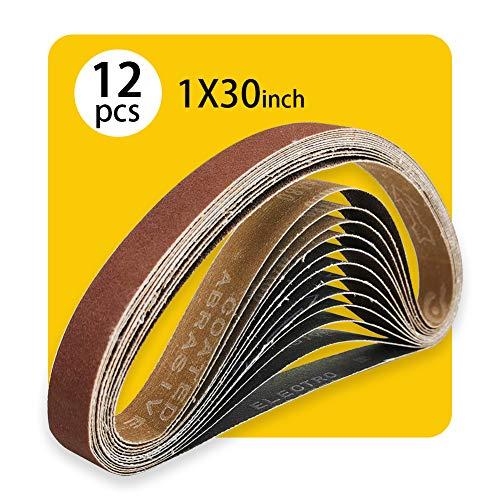 1x30 1 x 30 in Sanding Belt Pack 1-Inch x 30-Inch,12 Pcs(4 Each of 80 120 150 Grits) Aluminum Oxide for Sander