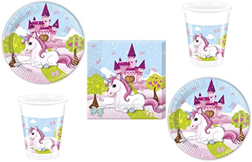 Procos 52-teiliges Party-Set Einhorn - Unicorn - Teller Becher Servietten für 16 Kinder