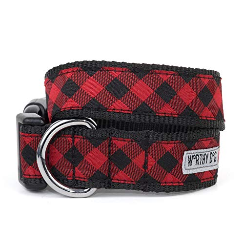 The Worthy Dog Bias Buffalo Plaid Pattern Designer Adjustable and Comfortable Nylon Webbing, Side Release Buckle Collar for Dogs - Fits Small, Medium and Large Dogs, Red/Black Color