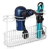 mDesign Soporte de pared para secador de pelo – Práctico estante de baño con 4 divisiones para artículos de...