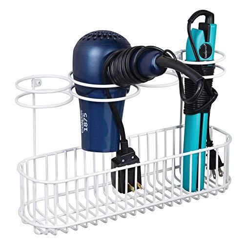 mDesign Soporte de pared para secador de pelo – Práctico estante de baño con 4 divisiones para artículos de peluquería y 1 cesta – Organizador de baño para secador, plancha o rizador – blanco