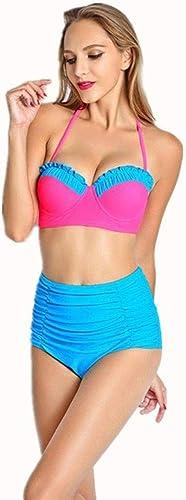 Qiusa Maillot de Bain Les Les dames Taille Haute Europe états-Unis Bikini Bikini Split, XL (Couleuré   -, Taille   -)