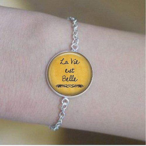 nijiahx La Vie est Belle – Life is Beautiful – Optimismus – Glück – Das Gute Leben – Französisches Zitat – Schmuck Ohrringe