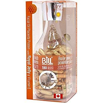 Bill Natural Sources Facial Oil w/ Placenta Protein & Royal Jelly & Vitamin E SPF15 180 gelcaps