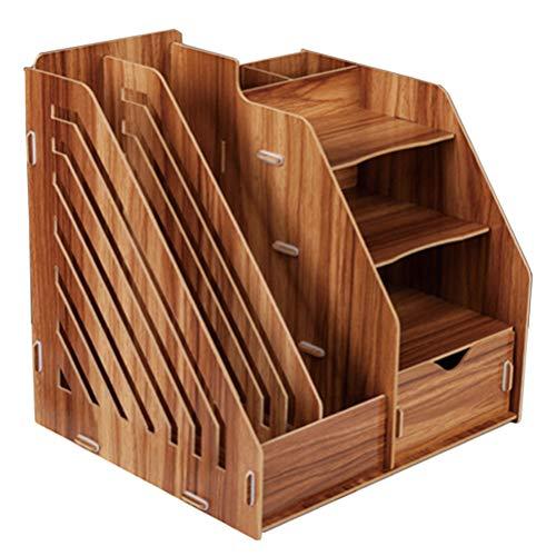 Suszian Wooden Desk Organizer, DIY Creative File Holder Desktop-Informationen Bücherregal Office Supplies File Organizer für, Bücher, Stifte und Notizbücher, Heim, Büro und Schule,