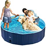 Fuloon Hundepool mit Ablassventil, Faltbarer Hunde Pool Katzenpool Swimmingpool Planschbecken Schwimmbad Hundebadewanne PVC-rutschfest, Verschleißfest (160 * 160 * 30cm, Blue-Blue)