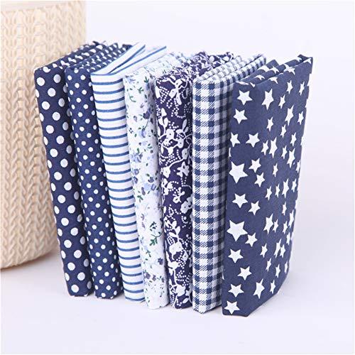 Deike Mild Juego de 7 piezas de tela de algodón por metros, para manualidades, costura, patchwork, paquete (azul marino, 25 x 25 cm)
