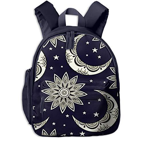 Mochilas Infantiles, Bolsa Mochila Niño Mochila Bebe Guarderia Mochila Escolar con Luna Sol Estrellas Boho para Niños De 3 A 6 Años De Edad