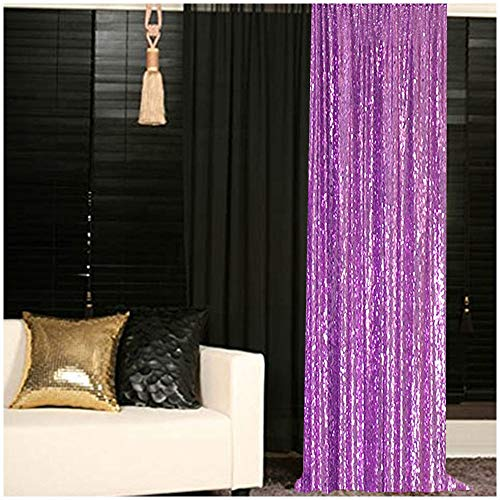 ShinyBeauty Sequin Curtain 2FTx8FT Lavender Sequin Curtain Sequin Backdrop Curtains Lilac Sequin Shower Curtain Panel Fabric Wedding Backdrop Photo Booth Backdrop (2FTx8FT, Lavender)