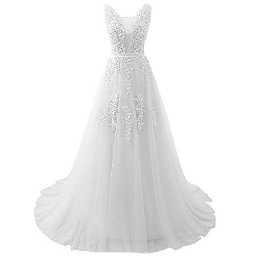 fa01cef12128 Aiyi Womens Bouble V Neck Lace and Pearl Long Prom Dress Evening Gown