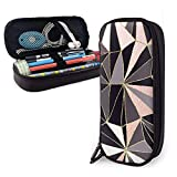 XCNGG Estuche para lápices neceser Stylish Art Deco Geometric Pattern Black, Cora Leather Pencil Case Pouch Zippered Pen Box School Supply For Students Big Capacity Stationery Box Travel Makeup Pouch