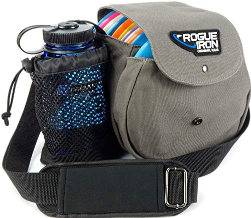 Rogue Iron Disc Golf Bag- Sling Tote Bag for Frisbee Golf - Holds Up to 14 Discs, Water Bottle, and Accessories V2 (14 Disc Gray)