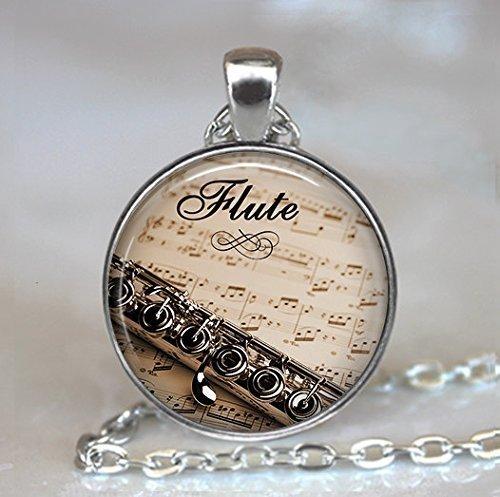 Flute and Music Key Pendant, Flute Key Pendant Flute Jewelry, Flute Key Necklace, Music Teacher Gift Flautist Gift Flute,Halloween Key Necklace,Christmas Necklace
