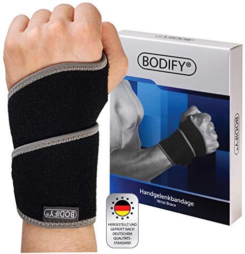 Bodify® Handgelenkbandage – Schmerzlindernde Bandage für dein Hand Gelenk – Schutz und Stabilität bei Karpaltunnelsyndrom und Sehnenscheidenentzündung – Mit Klettverschluss und Atmungsaktiv