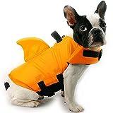 HanDingSM Chaleco Salvavidas del Animal doméstico,Chalecos Salvavidas para Perros,Perros pequeños Shark Pattern Dog Life Jacket (XL, Naranja)
