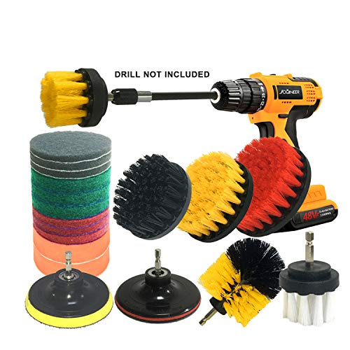 JOQINEER 20Piece Drill Brush Attachments Set,Scrub Pads & Sponge, Power Scrubber Brush with Extend Long Attachment All Purpose Clean for Grout, Tiles, Sinks, Bathtub, Bathroom, Kitchen