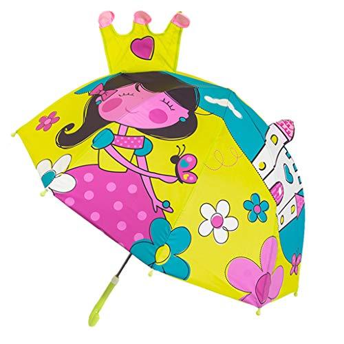 Niños paraguas niños niñas dibujos animados con orejas animales paraguas princesa personalizado mango largo seguro luz portátil paraguas