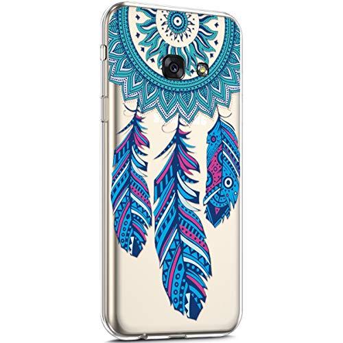 Surakey Cover Samsung Galaxy A3 2017, Custodia Silicone Trasparente con Disegni Fiore Ciliegio Cartoon Ultra Sottile e Leggero Protettiva Skin Crystal Clear Cover per Galaxy A3 2017,Acchiappasogni