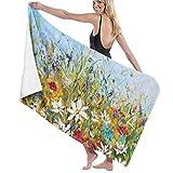WKLNM Nature Paintings of Wildflowers Toalla de baño Toalla de Playa Grande Manta Microfibra Secado rápido Absorbente Adicional Toalla sin Arena 32 'X 52'