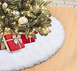 ilauke Faux Fur Christmas Tree Skirt 35 inch Soft Plush Tree Skirts Snowy White Skirt for...