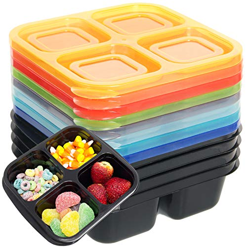 Youngever 8 Pack 4-Compartment Reusable Snack Box Food Containers, Bento Lunch Box, Meal Prep Containers, Divided Food Storage Containers, in 8 Assorted Color
