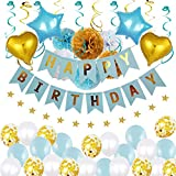 Qyaml Happy Birthday Bunting Banner Globos Decoraciones Set, para Boda, Cumpleaños, Pascua, Día De La Madre o Día del Niño