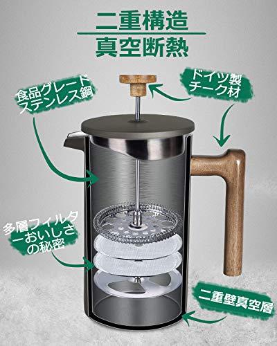 POLIVIARフレンチプレス1Lコーヒープレス真空断熱コーヒーメーカーステンレス製防錆耐用性大容量軽量分解洗浄家庭用グレージュFPY-JP
