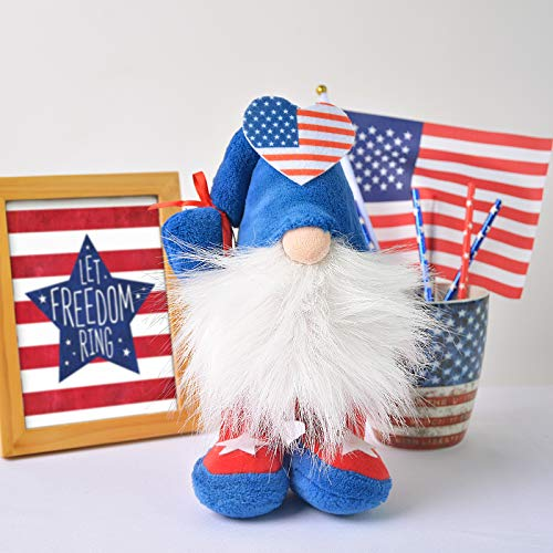 Sofevaim 4th of July Tiered Tray Decor Gnomes,Patriotic Stuffed Red White and Blue Figurines Plush Scandinavian Tomte Nisse Swedish Decor,Independence Day Ornaments Leprechaun Doll .