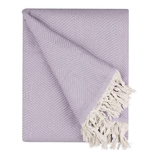 BOHORIA® Premium Tagesdecke Tulum - Bettüberwurf Wohndecke Wendedecke Kuscheldecke Sofadecke mit Muster | extra-groß 170 x 230 cm (Lavender)