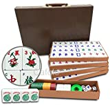 Chinese Mahjong X-Large 144 Numbered Melamine Tiles 1.5' Large Tile Plus 4 Extra Jokers with Carrying Travel...