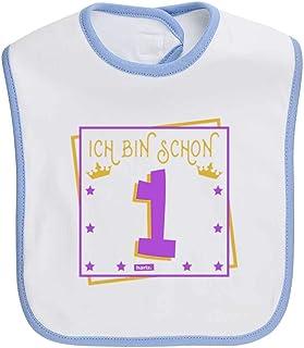 HARIZ Baby Halstuch Juhu Ich Bin Schon Eins Eule 1 Geburtstag Kinder Baby Plus Geschenkkarten Bleistift Grau