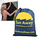 SUN AWAY Portable Blackout Window Curtain with Suction Cups - Easy Install Shade No Tools Required - Temporary Blinds, Perfect for Baby Nursery or Dorm Room - with Travel Bag (51' Wide x 66' Long)