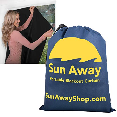 "SUN AWAY Portable Blackout Curtain with Window Suction Cups - Easy Install Shade No Tools Required - Temporary Blinds Perfect for Baby Nursery or Dorm Room - with Travel Bag (66"" Long x 51"" Wide)"