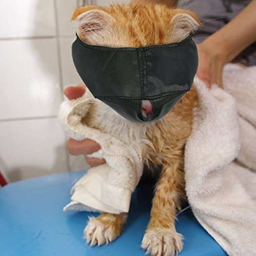 Nylon Cat Muzzles,Cat Face Mask ,Groomer helpers,Cat Grooming tools,Preventing scratches and Anti-biting,Black (L)