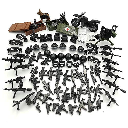 ZHX Military Weapons Pack Guns and Accessories for Minifigures Building Blocks Military Toys for Kids