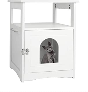 Pet House Nightstand,Indoor Pet Crate,Litter Box Enclosure,Cat Washroom Storage Bench,Cat Washroom,Decorative Cat House & Side Table with Sturdy Wooden Structure,Hidden Cat Litter Box (White)