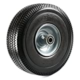 NK Heavy Duty Solid Rubber Flat Free Tubeless Hand Truck/Utility Tire Wheel, 4.10/3.50-4' Tire, 2-1/4' Offset Hub, 5/8' Bearing
