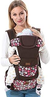ThreeH Portador de niño con asiento de cadera delantero y trasero ergonómico para infantes BC09,Brown