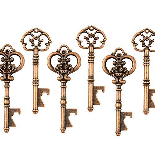 Misti 20 Apribottiglie extra large a forma di chiave Apribottiglie antiche in rame - 2 stili, 20 apri chiave (Rame Antico)