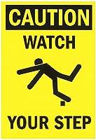 安全標識-注意:足元に注意してください。インチ金属錫サインUV保護および耐候性、通知警告サイン
