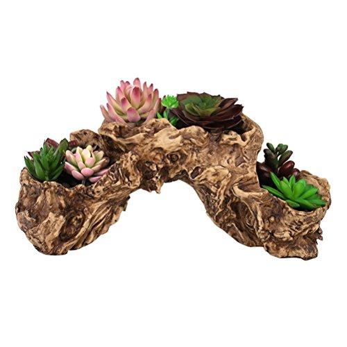 OUNONA Kunstharz K¨¹nstliche Twisted Blumentopf Treibholz ¨¹bertopf Werkzeug Skulptur Sukkulente Pflanzgef?? Multilayer 3?T?pfe f¨¹r Dekoration Keine Pflanzen