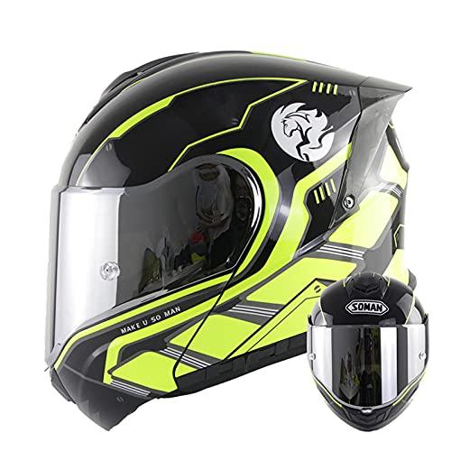 Casco de motocicleta modular abatible de cara completa, casco de motocross de moto de doble visor antiniebla para adultos, hombres y mujeres, Casco de protección aprobado ECE,5,3XL