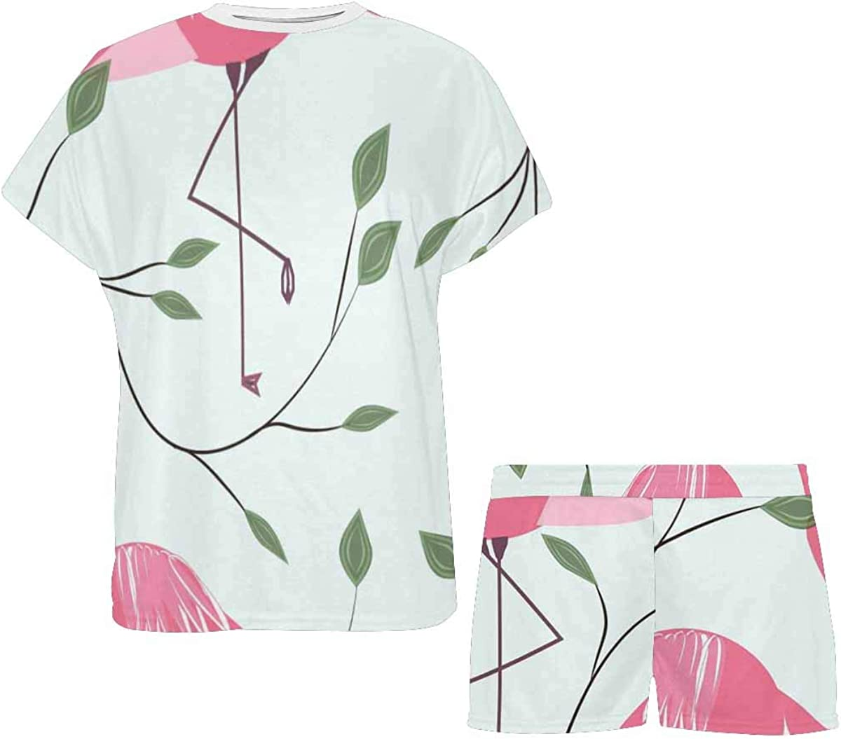 INTERESTPRINT Flamingos Leaves Women's Breathable 2 Piece Shorts Pajama Sleepwear Set
