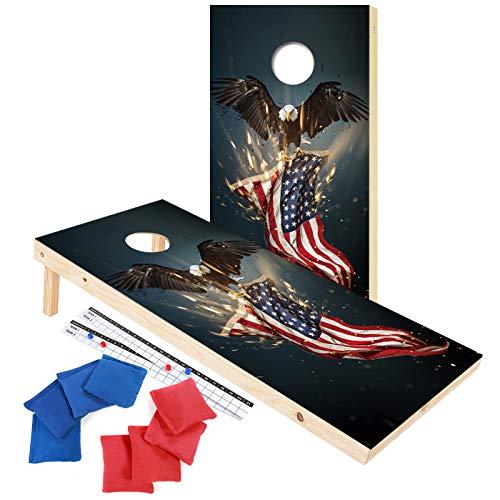 EXERCISE N PLAY Premium American Flag Bald Eagle Cornhole Set, Backyard Lawn...