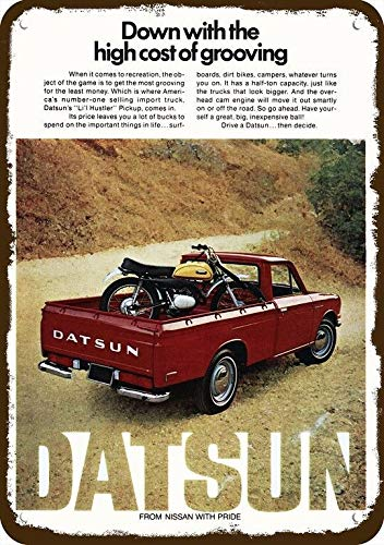 "Yilooom 1972 Datsun Li'L Hustler Red Pickup Truck Vintage Look Replica Metal Sign 7"" x 10"""