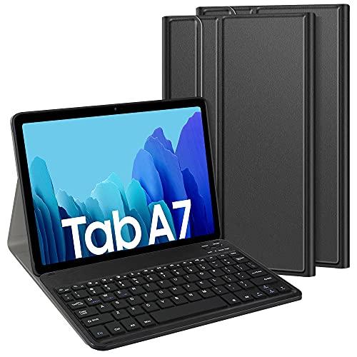 TASTATUR Teclado QWERTZ para Samsung Galaxy Tab A7 (alemán QWERTZ), Bluetooth, extraíble con funda y función atril para Samsung Galaxy Tab A7 2020 de 10,4 pulgadas, color negro